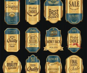 Blue and golden luxury labels vector 03