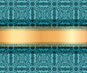 Blue luxury decoration with gold ribbon background vector 01