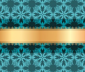 Blue luxury decoration with gold ribbon background vector 02