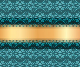 Blue luxury decoration with gold ribbon background vector 03