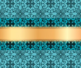 Blue luxury decoration with gold ribbon background vector 04