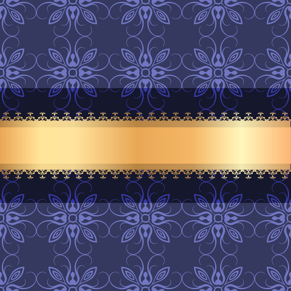 Blue purple decoration with gold background vector