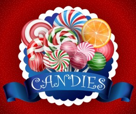 Blue ribbon with candies background vector 01
