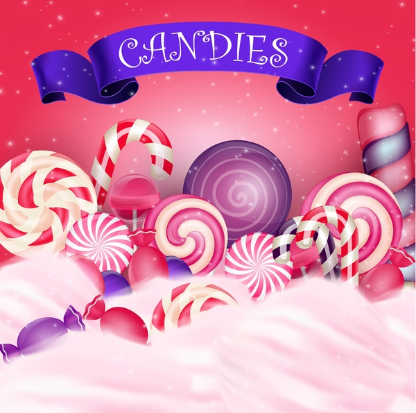 Blue ribbon with candies background vector 02