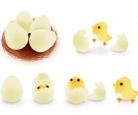 Broken eggs and cartoon chickens vector 01