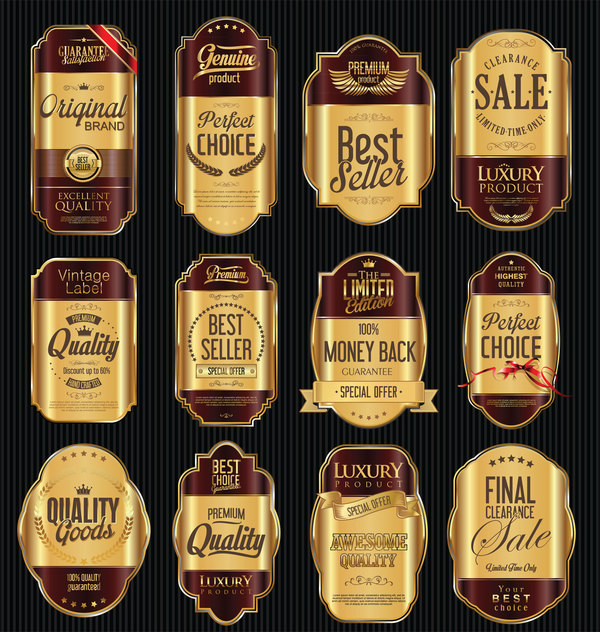 Brown and gold luxury labels vector
