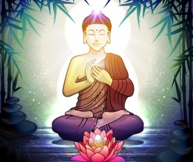 Buddha in Meditation With Lotus Flower vector