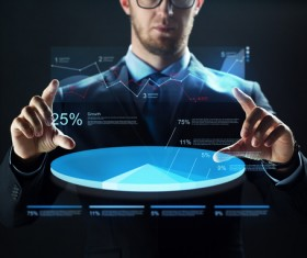 Businessman with virtual charts Stock Photo 06