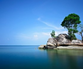Calm lake with rocks HD picture