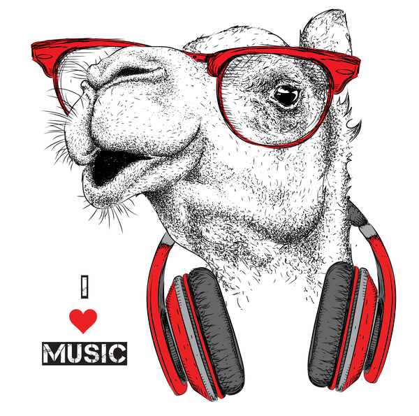 Camel with music vector design 01