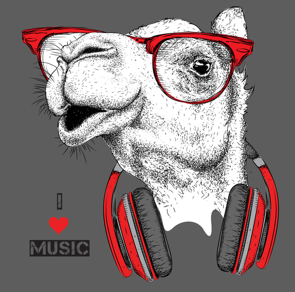 Camel with music vector design 02