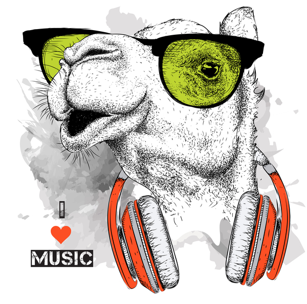 Camel with music vector design 03