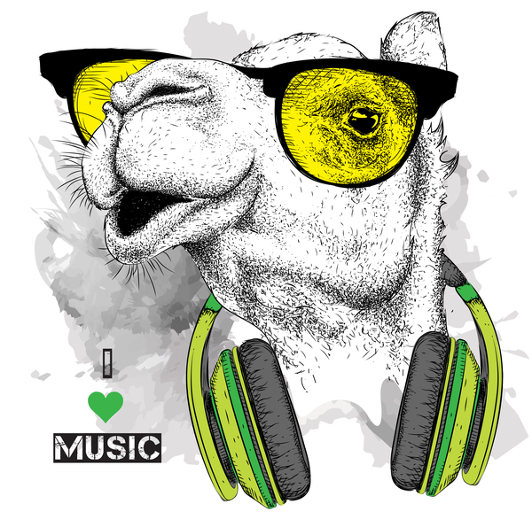 Camel with music vector design 05