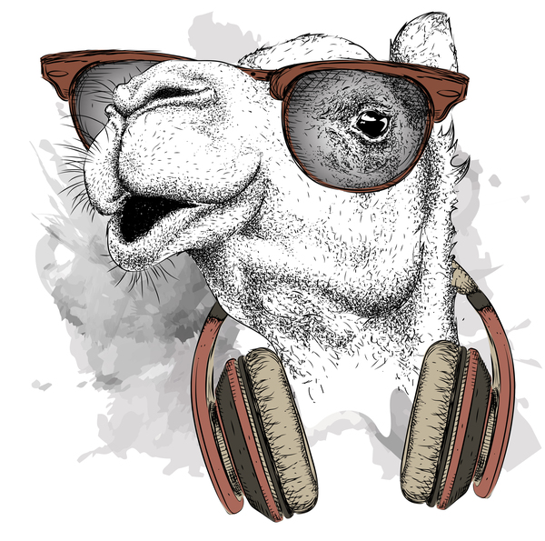 Camel with music vector design 06