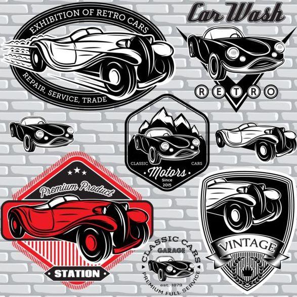 Car wash with vintage car logos vector