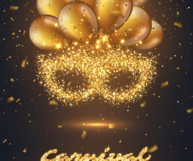 Carnival party poster with golden balloon vector