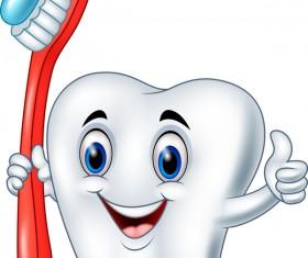 Cartoon teeth with toothbrush vector
