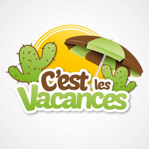 Cest les vacances with beach umbrella illustration vector 01