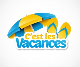 Cest les vacances with beach umbrella illustration vector 03