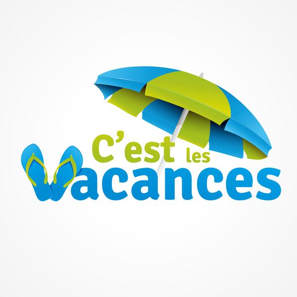 Cest les vacances with beach umbrella illustration vector 04