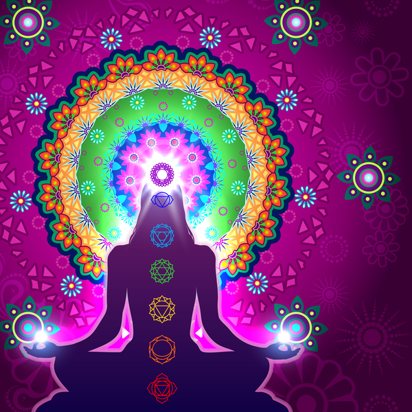 Chakra Meditation Mandala vector material 01