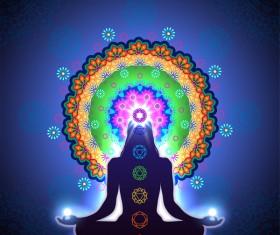 Chakra Meditation Mandala vector material 02