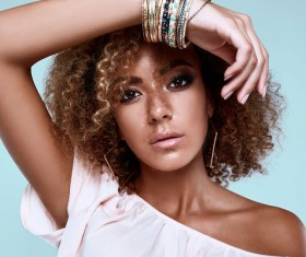 Charm elegant black skin female models HD picture