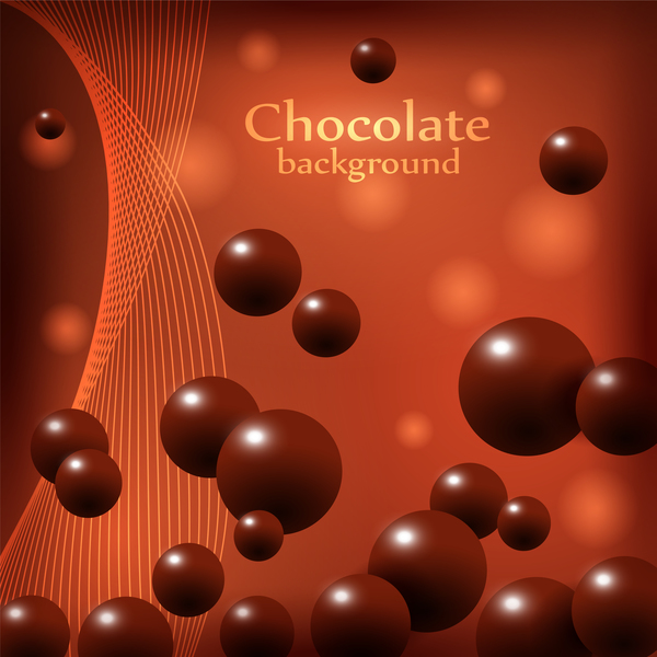 Chocolate ball with abstract background vector