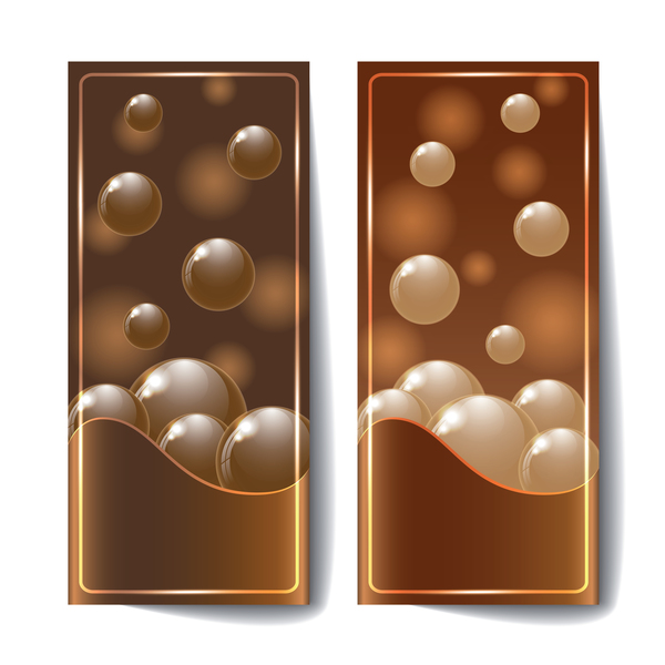 Chocolate card with chocolate ball vector 01