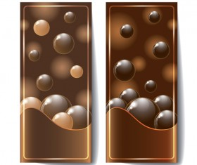 Chocolate card with chocolate ball vector 02