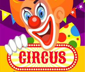 Circus poster with clown vector material