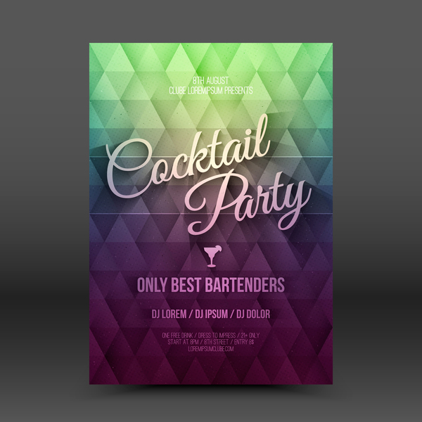 Cocktail party flyer template vector 01