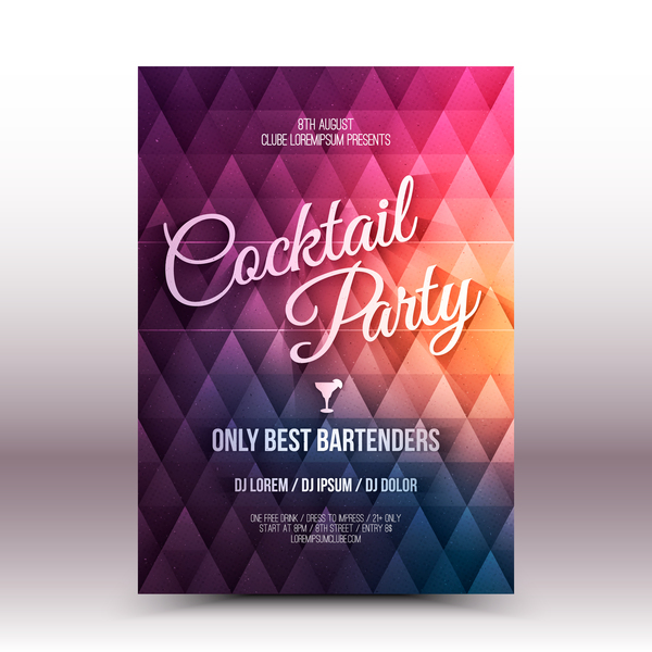 Cocktail party flyer template vector 02