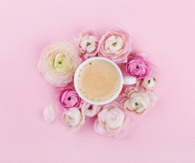 Coffee and pink background with flowers HD picture