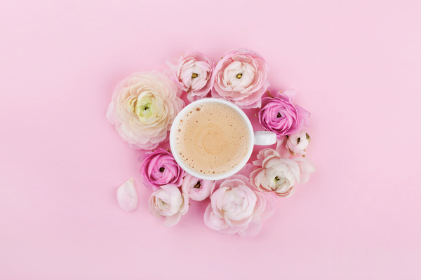 Coffee and pink background with flowers hd picture free download coffee and pink background with flowers hd picture mightylinksfo