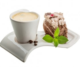 Coffee cups and chocolate cake Stock Photo