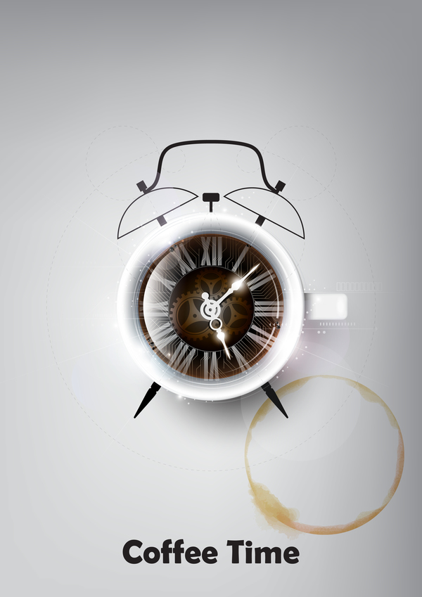 Coffee with clock vector material 02