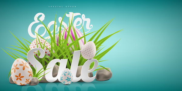 Colored egg with easter sale background vector 01