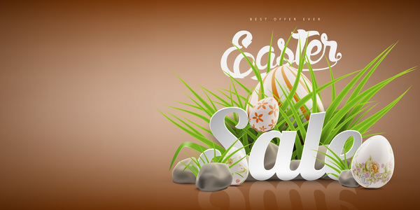 Colored egg with easter sale background vector 02