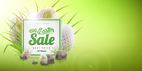 Colored egg with easter sale background vector 04