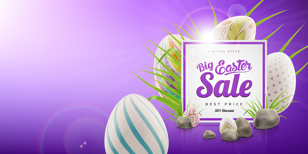 Colored egg with easter sale background vector 05