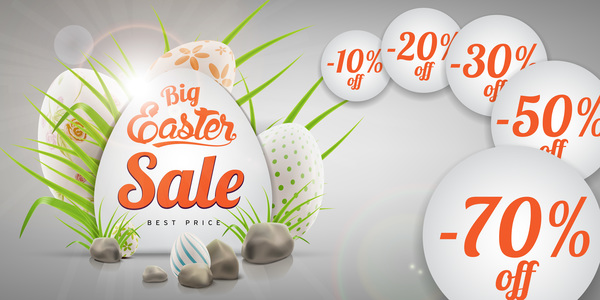 Colored egg with easter sale background vector 06
