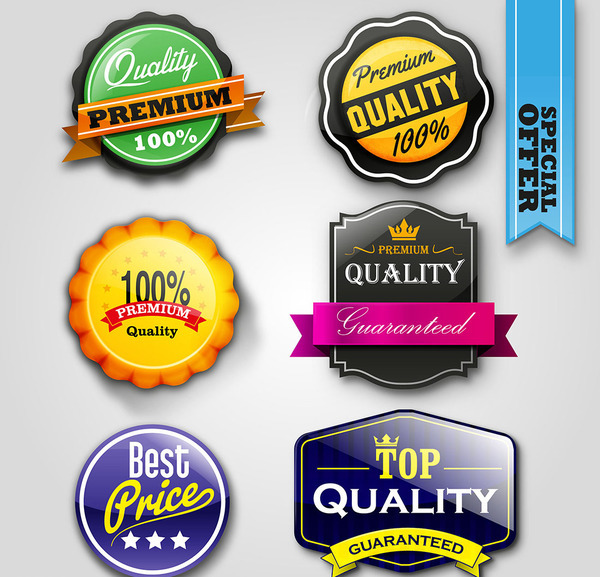 Colored red labels with badge vector material
