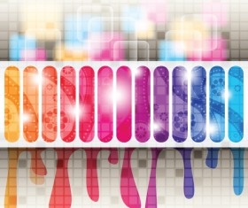 Colored tapes with blurs background vector