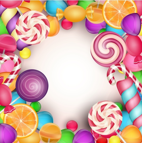Colorful candies frame vector