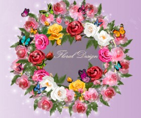 Colorful rose with butterflies wreath vector