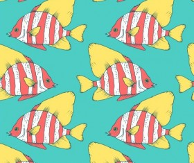 Coral fish hand drawn vector seamless pattern 09