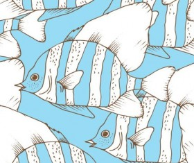 Coral fish hand drawn vector seamless pattern 11