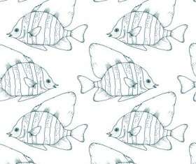 Coral fish hand drawn vector seamless pattern 12
