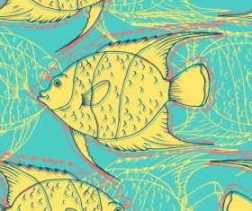 Coral fish hand drawn vector seamless pattern 13